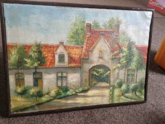 Schilderij van een zicht uit Brugge,meer dan70 jaar oud