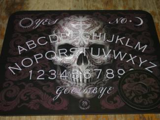 Ouija bord te koop met doodshoofd.