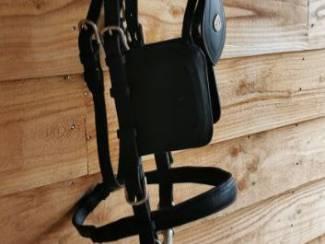 Paarden | Zadels en Hoofdstellen Zwart leren enkelspantuig maat cob / full