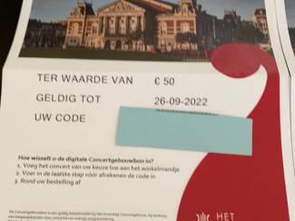 2 waardebonnen Concertgebouw van € 50 de stuk